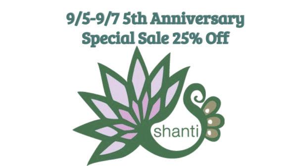 9/5-9/7 スタジオシャンティオープン5周年特別セール開催!